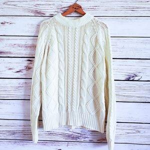 Vtg Chunky Creamy White Fisherman Knit Sweater